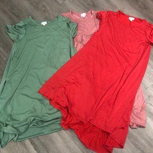LuLaRoe solid Carly dresses lot of 3